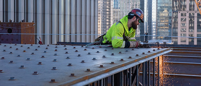 The Erection Company welding and securing structural steel panels on the Rainier Square Tower project.